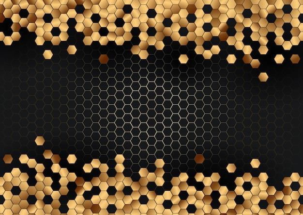 抽象的な金の六角形のデザインの黒い背景