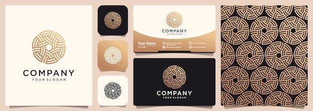 Abstract gold knot symbol with set of logo, pattern and business card template.
