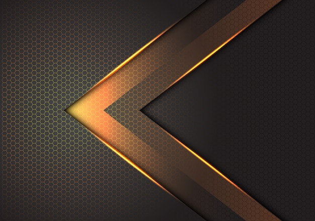 Abstract gold light arrow direction on dark grey hexagon mesh background.