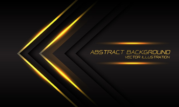 Abstract gold light arrow direction on dark grey luxury futuristic background.