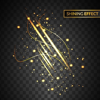 Abstract gold light effect with isolated sparkle on transparent background