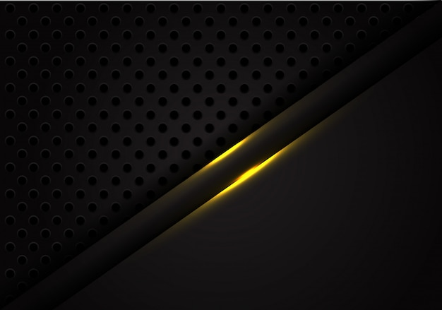 Abstract gold light line black metal circle mesh background.