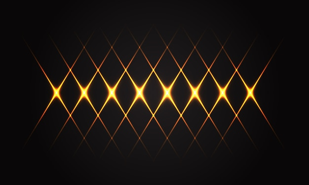 Abstract gold light line cross pattern on black background luxury futuristic technology.