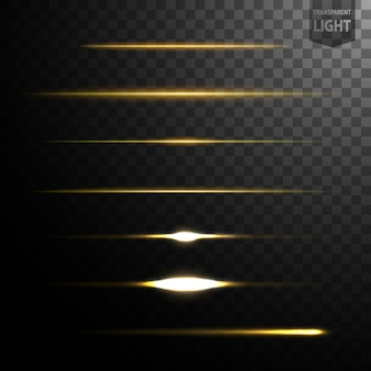 Abstract gold light lines isolated on transparent background