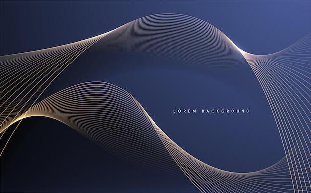 青い背景の抽象的な金の光の線