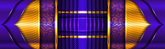 Абстрактные золотые световые линии на фиолетовом синем фоне