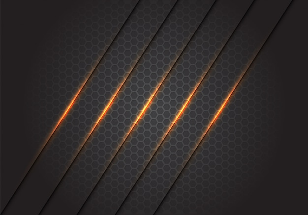 Abstract gold light lines slash on dark grey hexagon mesh background.