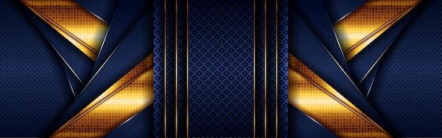 Абстрактный золотой светлый многоугольный на темно-синем геометрическом фоне