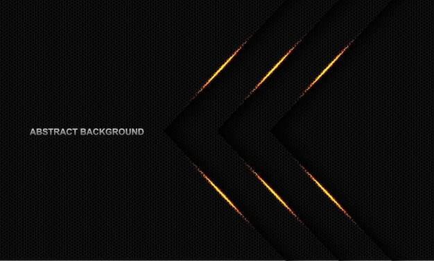 空白のスペースデザインモダンで豪華な未来的な背景とダークグレーの六角形メッシュの抽象的なゴールドライトトリプル矢印方向