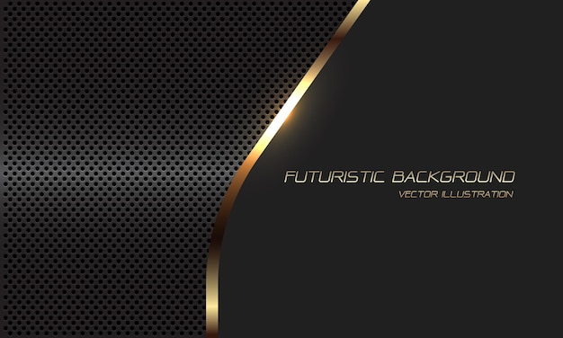 Abstract gold line curve grey metallic circle mesh with blank space and text design modern luxury futuristic background