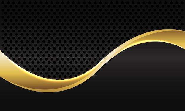 어두운 회색 금속 원형 메쉬 배경에 추상 골드 라인 곡선.
