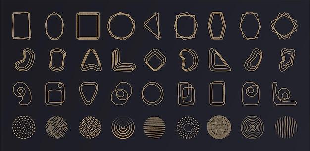 황금빛 모래를 사용하여 어두운 배경에 추상 금선