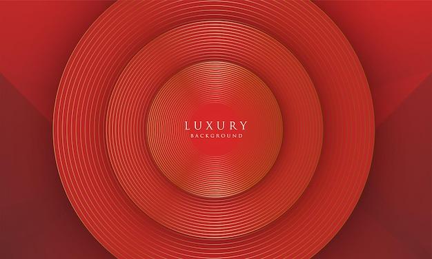 抽象的な金の線は、赤い背景の上の贅沢な効果を丸で囲みます