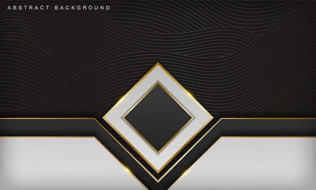 白いオーバーラップ黒の背景に豪華な抽象的なゴールドラインエレガントな3dデザインテンプレート