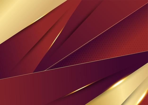 抽象的な金色の線は、赤いグラデーションの背景にビジネス技術をパターン化します。