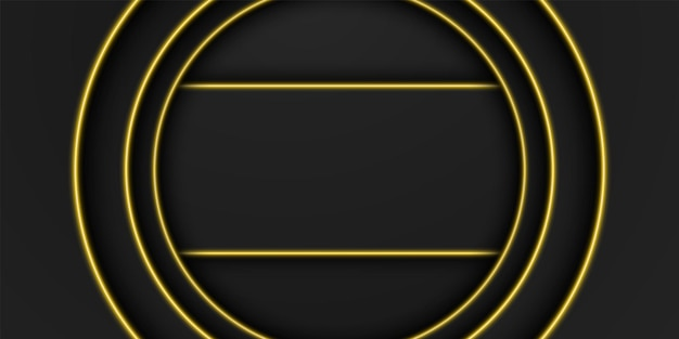 黄色の光の線で抽象的なゴールドメタリックブラックフレーム背景円形オーバーラップレイヤー
