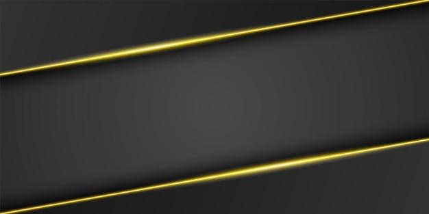 Абстрактный золотой металлический черный фон рамки треугольный слой перекрытия со светлой линией