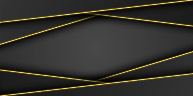 Абстрактный золотой металлический черный фон рамки треугольный слой перекрытия с ярко-желтой светлой линией
