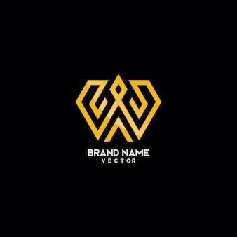 추상 금 모노그램 w 로고 디자인