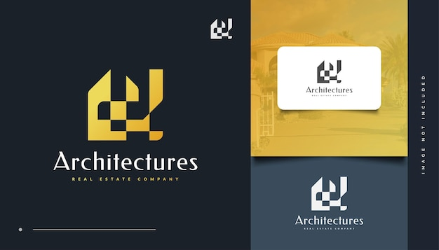 Abstract gold real estate logo design. construction, architecture or building logo