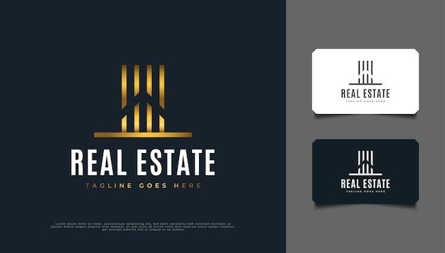 추상 골드 부동산 로고 디자인입니다. 건설, 건축 또는 건물 로고 디자인 템플릿