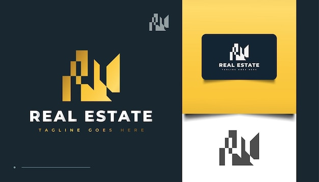 Дизайн логотипа абстрактный золото недвижимости. строительство, архитектура или дизайн логотипа здания