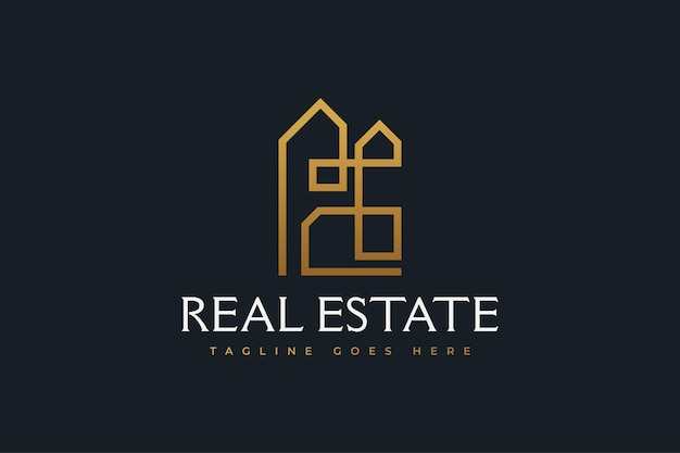 Abstract gold real estate logo design with line style. construction, architecture or building logo design template