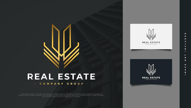 선 스타일로 추상 골드 부동산 로고 디자인. 건설, 건축 또는 건물 로고 디자인