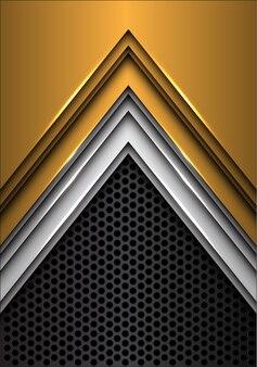 어두운 회색 원 메쉬 미래 배경에 추상 금은 화살표.