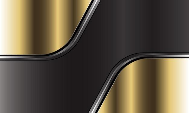 ダークグレーのメタリックモダンで豪華な未来的な背景に抽象的なゴールドシルバーブラックラインカーブオーバーラップ