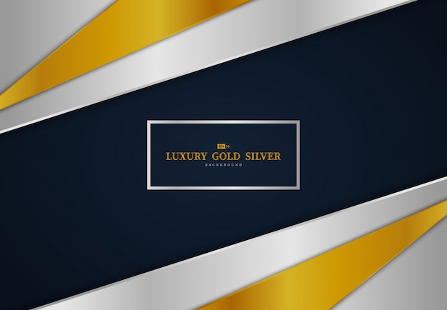 Abstract gold and silver glossy tech template design on gradient blue background.
