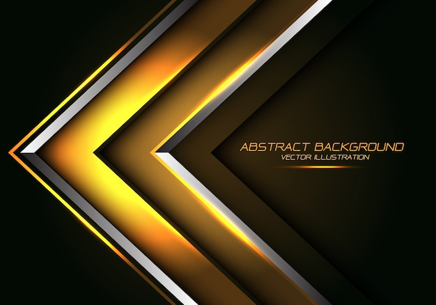 Abstract gold silver line arrow direction luxury futuristic background.