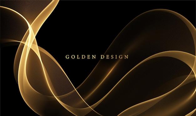 抽象的な金の煙の波。光沢のある金色の線キラキラ効果暗い背景