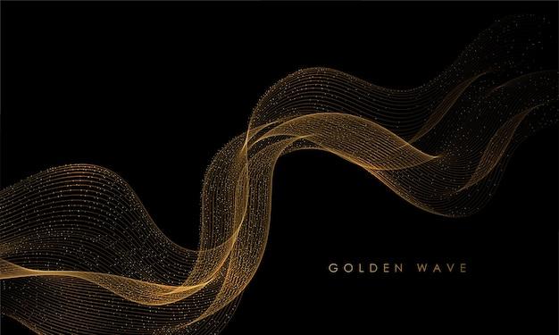 抽象的な金の煙の波。光沢のある金色のラインキラキラ効果