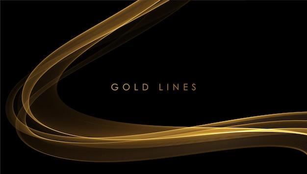 抽象的な金の煙の波。ギフト、グリーティングカード、クーポン券の暗い背景に光沢のある金色の動く線のデザイン要素。ベクトルイラスト