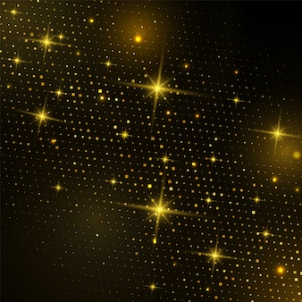 Abstract gold square halftone with glittering light on black