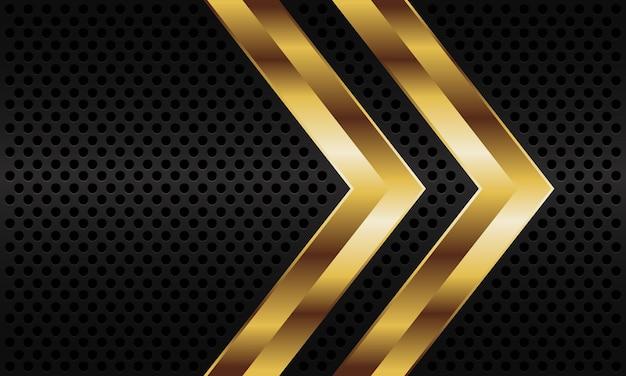 Abstract gold twin arrow direction on dark grey metallic circle mesh pattern background.