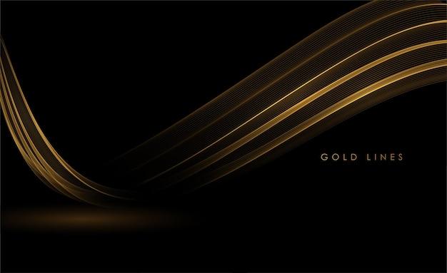 グリーティングカードの暗い背景に抽象的な金の波光沢のある金色の動く線のデザイン要素