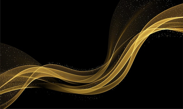 Abstract gold waves. shiny golden moving lines design element with glitter effect on dark background for gift, greeting card and disqount voucher. vector illustration