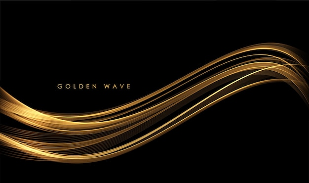 Abstract gold waves shiny golden moving lines design element with glitter effect on dark background for greeting card and disqount voucher