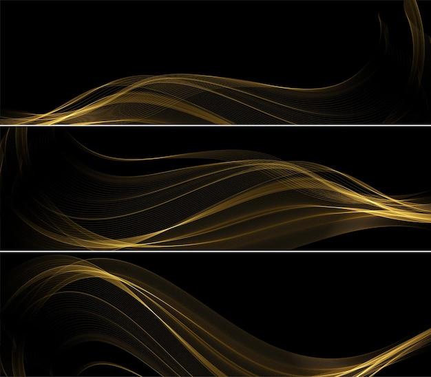 抽象的な金の波。ギフト、グリーティングカード、クーポン券の暗い背景にキラキラ効果のある光沢のある金色の動く線のデザイン要素。ベクトルイラスト