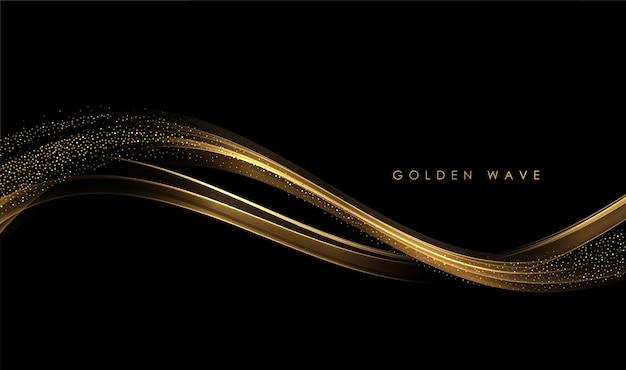 暗い背景にキラキラ効果を持つ抽象的な金の波光沢のある金色の動く線のデザイン要素..。