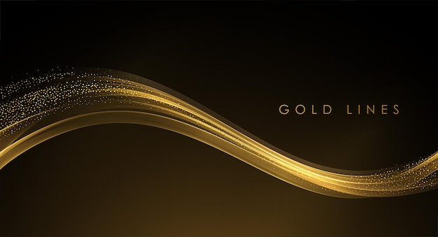 暗い背景にキラキラ効果を持つ抽象的な金の波光沢のある金色の動く線