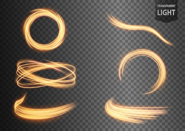 Abstract gold wavy line of light set with a transparent background