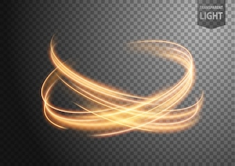 Abstract gold wavy line of light