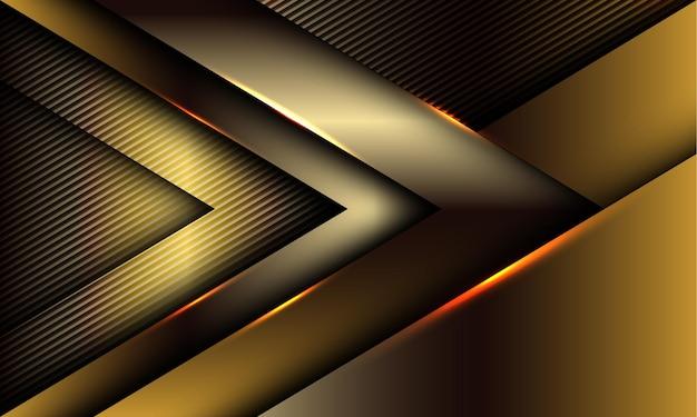 線のテクスチャの豪華なスタイルの未来的な技術の背景に抽象的な金色の矢印の光沢のある影の方向