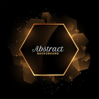 Abstract golden and black hexagonal frame background