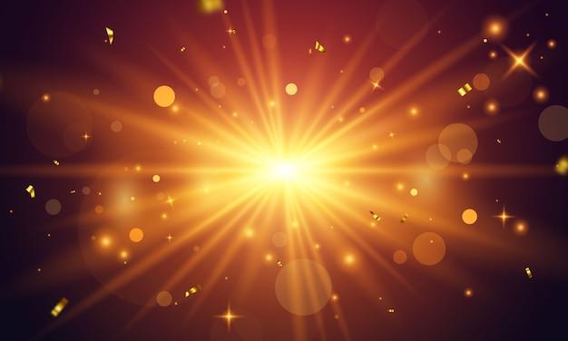 추상적 인 황금 밝은 빛. 골드 손질 버스트 투명 배경에 고립입니다. 색종이 골드 축하