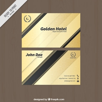 Abstract golden business card with black details