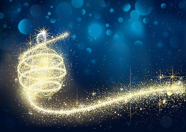 Abstract golden christmas bauble in blue bokeh night